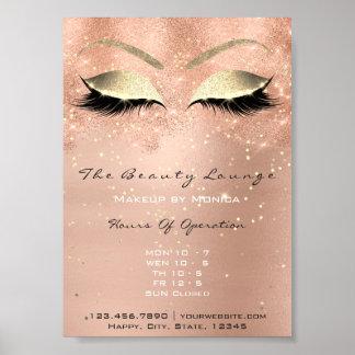 Rose Gold Makeup Confetti Glitter Beauty Salon Poster