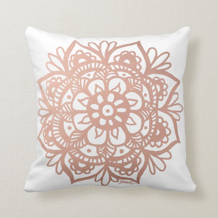 Rose Gold Mandala Throw Pillow Zazzle