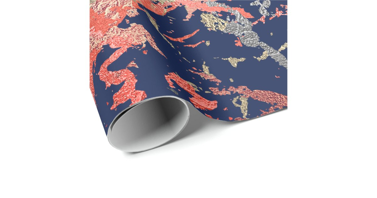 Rose Gold Marble Coral Navy Copper Abstract Wrapping Paper