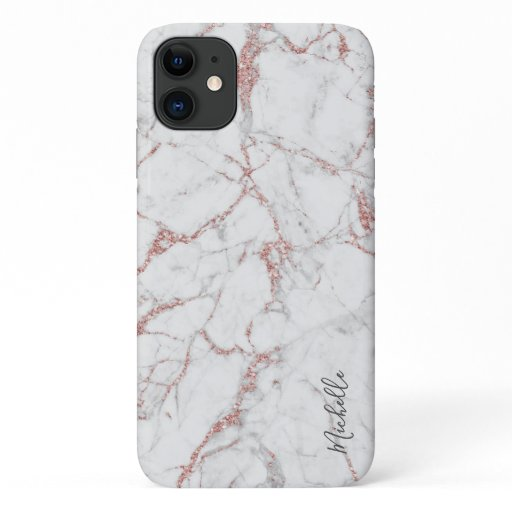 Rose Gold Marble Custom Name Modern iPhone 11 Case