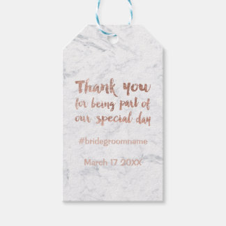 Rose gold marble custom thank you wedding gift tags