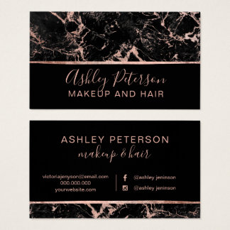 Rose gold marble hair makeup typography business card