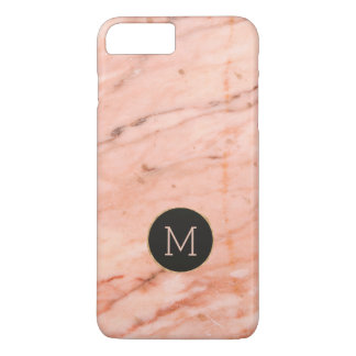 Rose-gold marble print monogram iPhone 8 plus/7 plus case