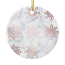 Rose Gold & Marble Snowflake Christmas Pattern Ceramic Ornament