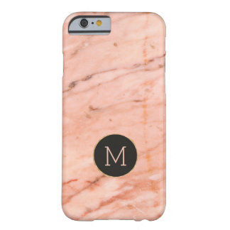 Rose-gold marble stone print monogram barely there iPhone 6 case