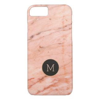 Rose-gold marble texture monogram iPhone 8/7 case