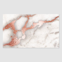Rose Gold Marble Texture Rectangular Sticker