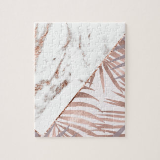 Rose gold marble & tropical ferns jigsaw puzzle