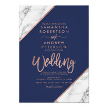 Rose gold marble typography navy blue wedding invitation