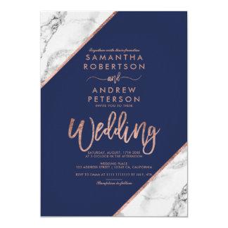 Rose gold marble typography navy blue wedding invitation