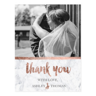 Rose gold marble wedding thank you photo postcard