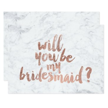 girly_trend Rose gold marble Will you be my Bridesmaid Card