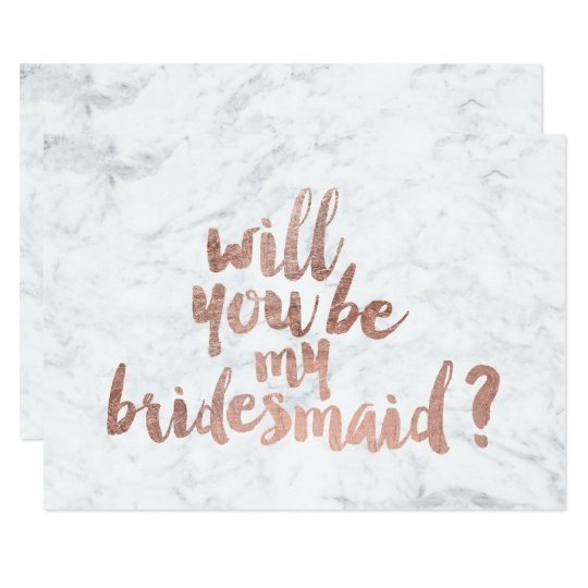 rose gold marble will you be my bridesmaid invitation zazzle com
