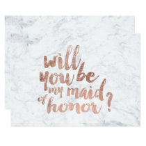 Rose gold marble Will you be my maid of honor Invitation
