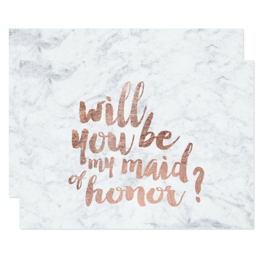 Rose gold marble Will you be my maid of honor Invitation   Zazzle.com