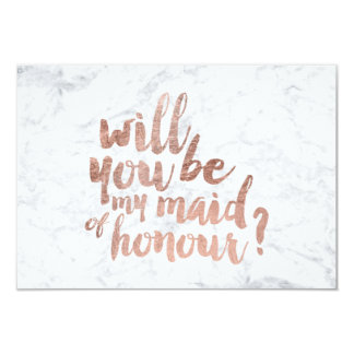 Rose gold marble Will you be my maid of honour Card