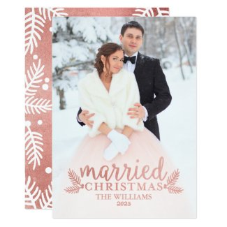 Rose Gold Married Christmas | Holiday Photo Card