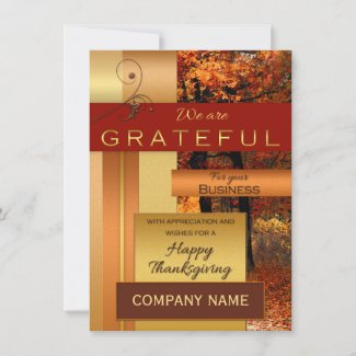 Rose Gold Metallic Corporate Thanksgiving Card