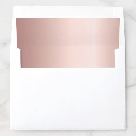 Rose gold metallic elegant modern wedding envelope liner