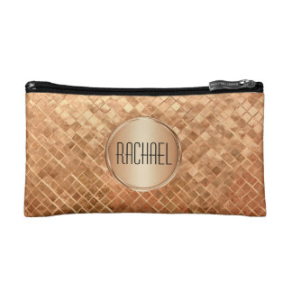 Rose Gold Metallic-Look Pattern with Monogram Cosmetic Bag