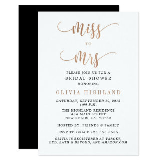 Rose Gold Miss to Mrs Bridal Shower Invitations