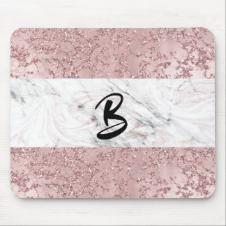 Rose Gold Modern Glam Marble & Glitter Decorative Mouse Pad