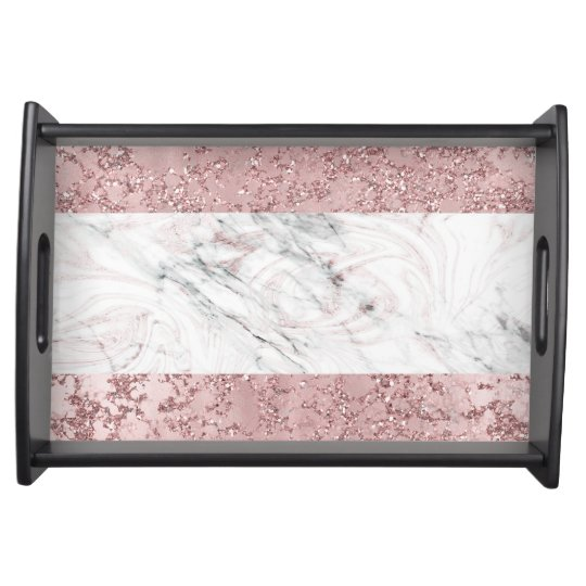 Rose Gold Modern Glam Marble Glitter Decorative Serving Tray