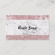 Rose Gold Modern Glam Marble & Glitter Glamour Business Card