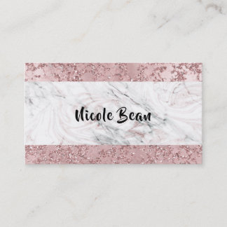 Rose Gold Modern Glam Marble & Glitter Glamour Business Card