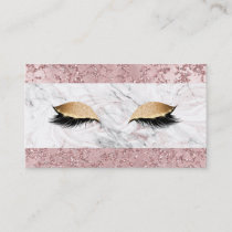 Rose Gold Modern Glam Marble & Glitter Lashes Business Card