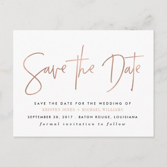 Rose Gold Modern Save The Date Announcement Postcard