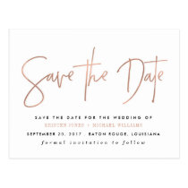 Rose Gold Modern Save the Date Postcard