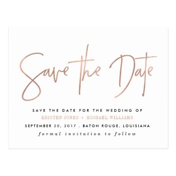 Rose Gold Modern Save The Date Postcard by fancypaperie at Zazzle