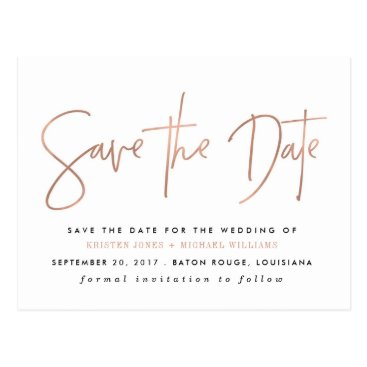 fancypaperie Rose Gold Modern Save the Date Postcard