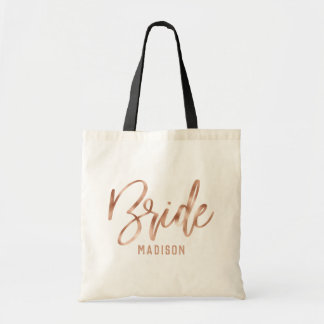 Rose Gold Modern Typography Wedding Bride Tote Bag