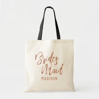Rose Gold Modern Typography Wedding Bridesmaid Tote Bag