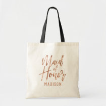 Rose Gold Modern Typography Wedding Maid of Honor Tote Bag