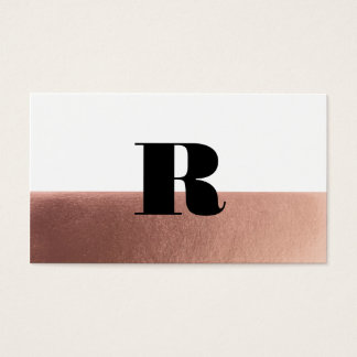 Rose gold monogram faux foil business card