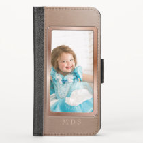 Rose Gold Monogram Framed Photo iPhone Wallet Case