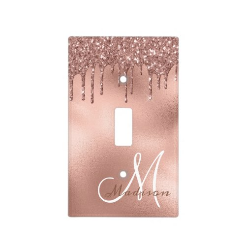 Rose gold Monogram Glitter Drips Pretty Girly Light Switch Cover