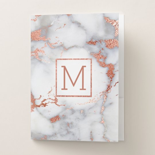 Rose Gold Monogram Marble Stone Pocket Folder Zazzle Com