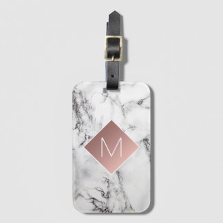 rose gold monogram on black white marble stone bag tag