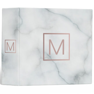 rose gold monogram on elegant white marble look 3 ring binder