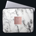 "rose gold monogram on marble computer sleeve<br><div class=""desc"">monogram on marble</div>"