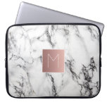 rose gold monogram on marble computer sleeve<br><div class='desc'>monogram on marble</div>