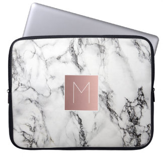 rose gold monogram on marble computer sleeve