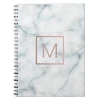 rose gold monogram on stone spiral notebook