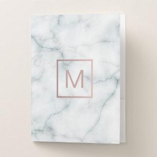 rose gold monogram on white marble elegant pocket folder