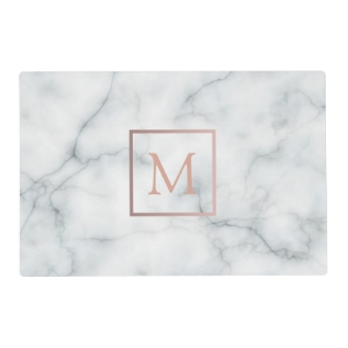 Rose Gold Monogram On White Marble Look Placemat at Zazzle