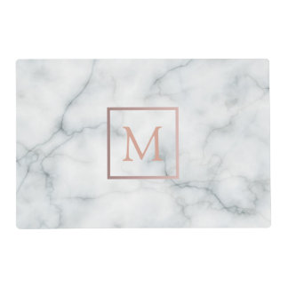 rose gold monogram on white marble look placemat